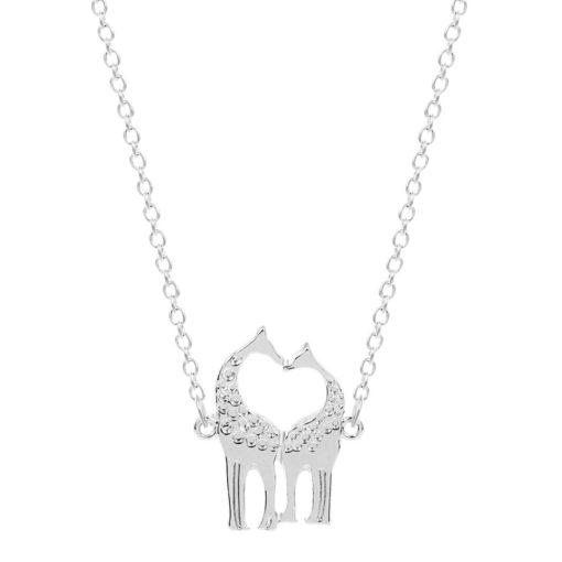 Collier giraffe argenté