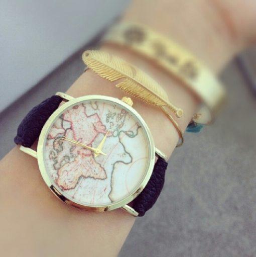 Montre carte monde noire