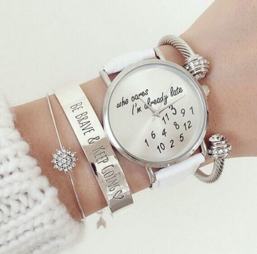 Montre tendance who cares im late blanche