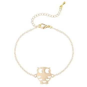 Bracelet hiboux doré. Bijoux fantaisie de créateurs