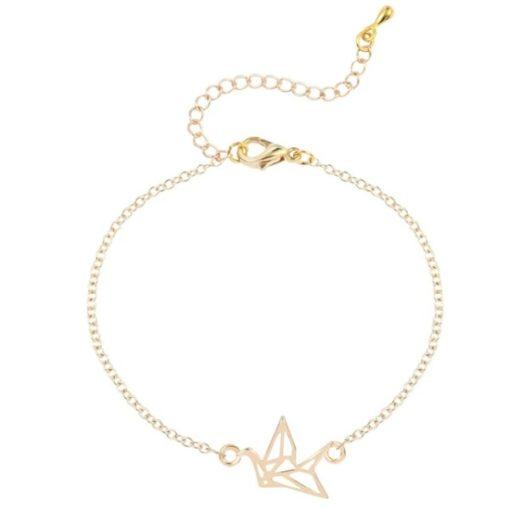 bracelet origami oiseaux argenté