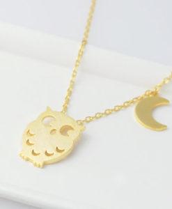 collier hiboux doré, collier plaqué or chaine: 45cm pendentif plaqué or: 12 x 16 mm