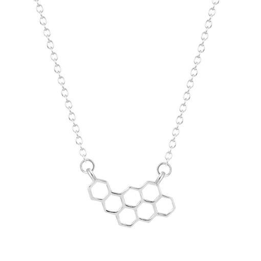 Collier minimaliste nid d abeille argenté