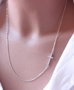 collier croix argenté