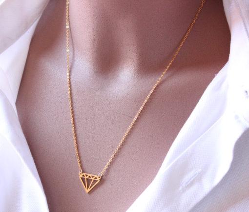 collier diamant doré -Collier créateur