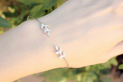 Bracelet feuille argent
