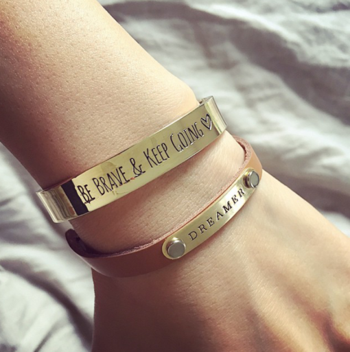 bracelet tendance 2017 or. bracelet be brave and keep going