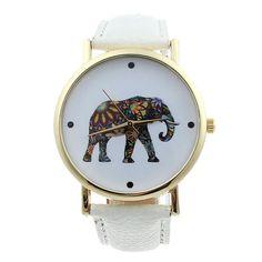Montre éléphant cuir blanche. Montres fantaisies tendance 2016