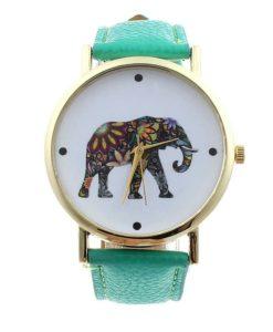 montre elephant cuir verte