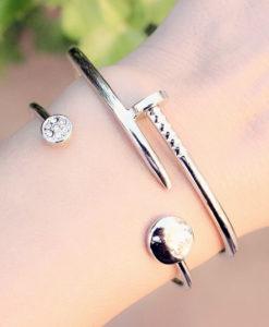 Bracelet jonc cristal argent