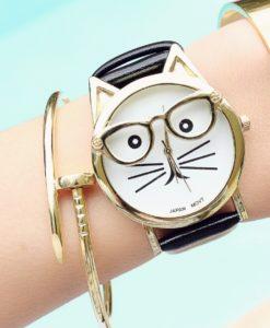 Montre chat lunettes 2017- noire