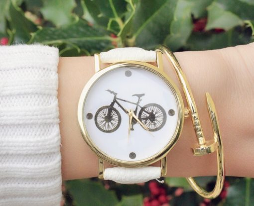 montre bicyclette cuir blanche