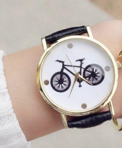 Montre bicyclette noire cuir