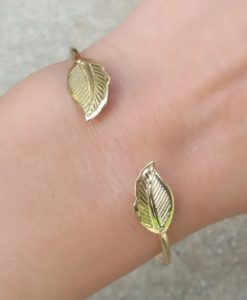 Bracelet feuille or