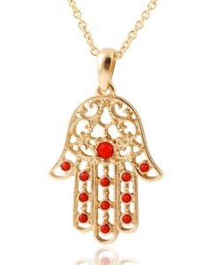 collier Hamsa or rouge