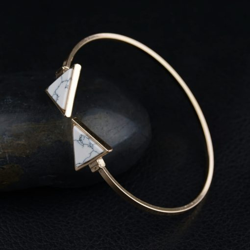 Bracelet jonc marbre blanc
