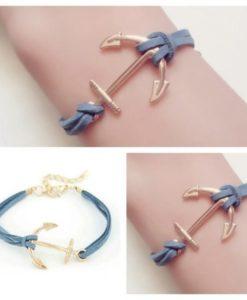 Bracelet ancre cuir pas cher