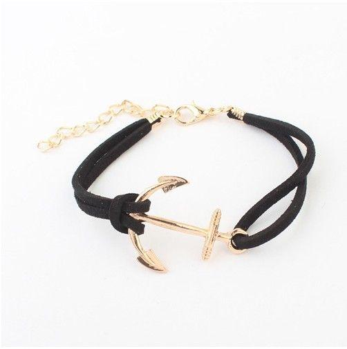 Bracelet ancre dore suede cuir pas cher