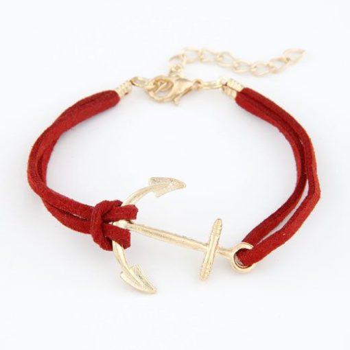 Bracelet ancre dore suede pas cher