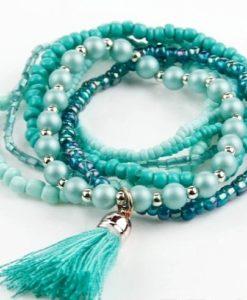 Bracelet bohême pompon turquoise