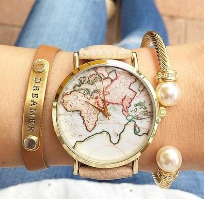 Montre carte monde 2018 beige