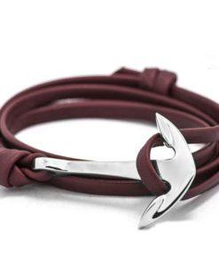 Bracelet ancre argent cuir 2017