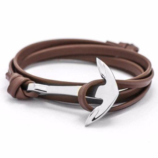 Bracelet ancre argent cuir marron