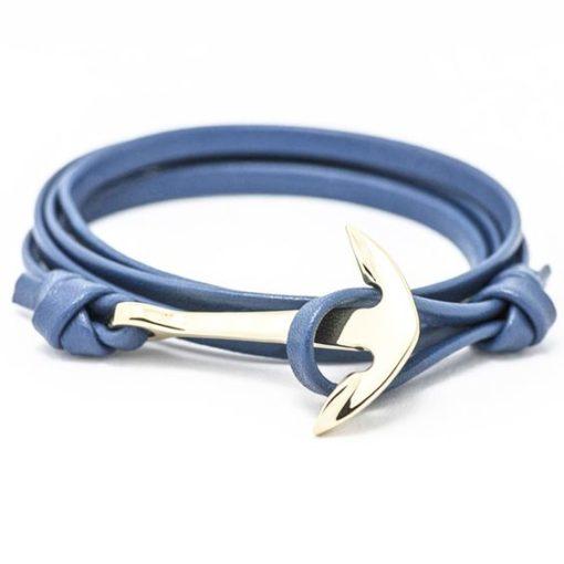 Bracelet ancre marine cuir bleu