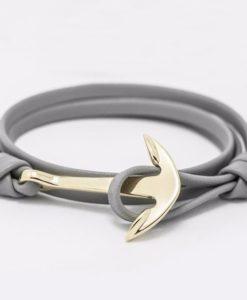 Bracelet ancre marine cuir gris