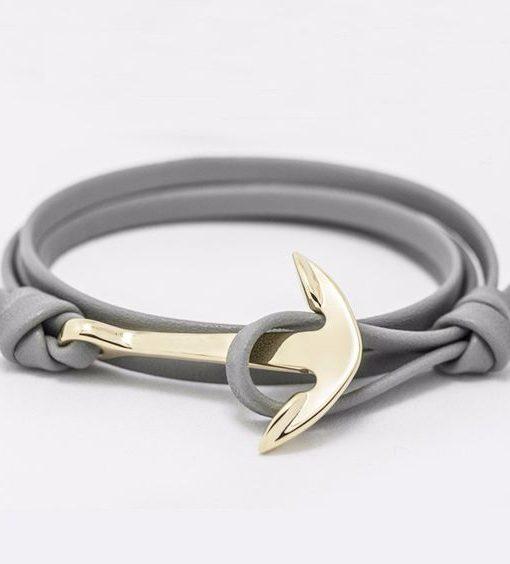 bracelet ancre marine cuir gris bijoux fantaisie pas cher. Black Bedroom Furniture Sets. Home Design Ideas