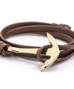 Bracelet ancre marine cuir marron