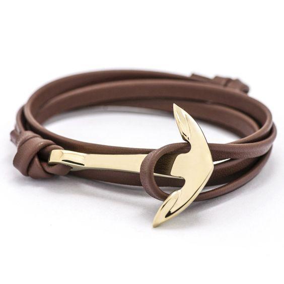 bracelet cuir ancre marine