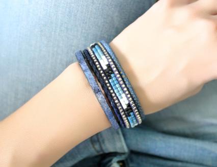 Bracelet multi-tours cuir bleu