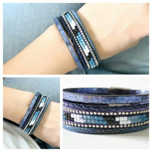 Bracelet multi-tours cuir bleu tendance 2018