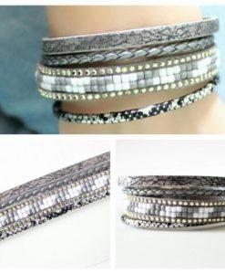 Bracelet multi-tours tendance 2018 gris