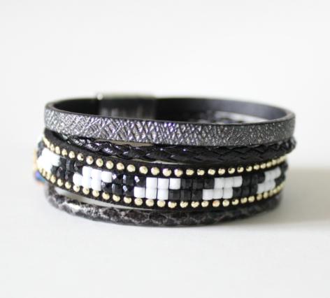 Bracelet multi-tours tendance 2018 noir