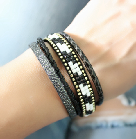 bracelet,multi,tours,tendance,2018,noir,2