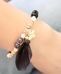 Bracelet plume noire tendance 2018