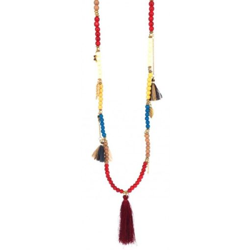 Collier boho-chic pompon