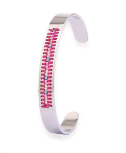 Bracelet jonc argent tissue perles 2018