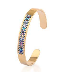 Bracelet jonc or tissue bleu