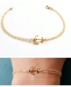 Bracelet cadeau femme - ancre or