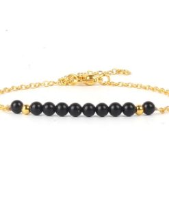 Bracelet cadeau femme- pierres noires