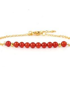 Bracelet cadeau femme- pierres rouges