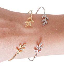 Cadeau bijoux femme- Bracelet feuille argent. Bijoux fantaisie pas cher France