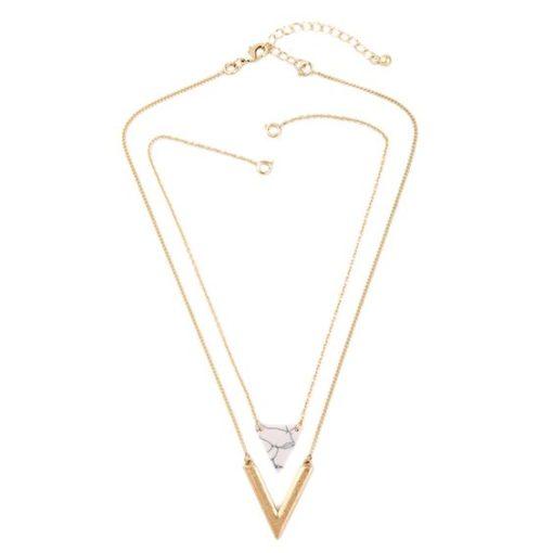 Cadeaux bijoux Femme- Collier multi-rangs marbre