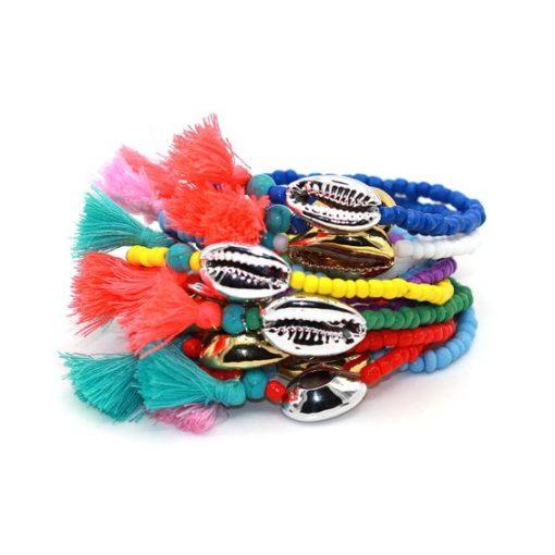 bracelet coquillage or argent tendance ete 2018