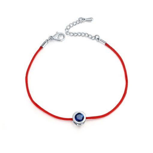 Bracelet Swarovski Zirconia cordon rouge argent