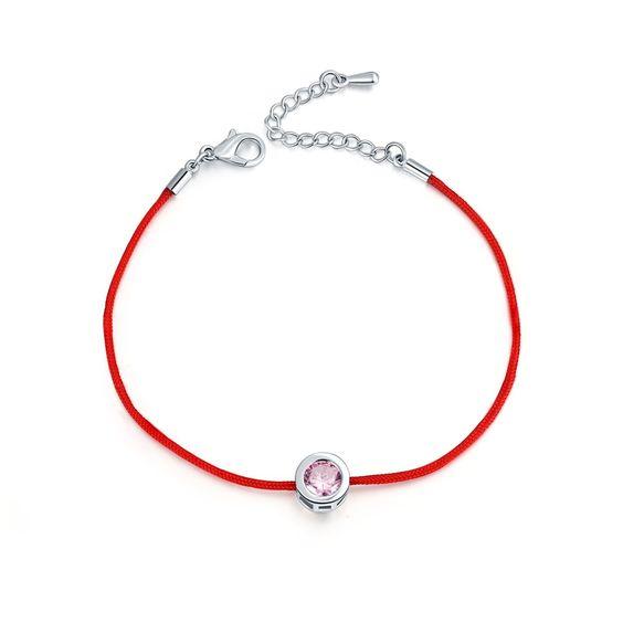 Bracelet Swarovski Zirconia rose cordon rouge