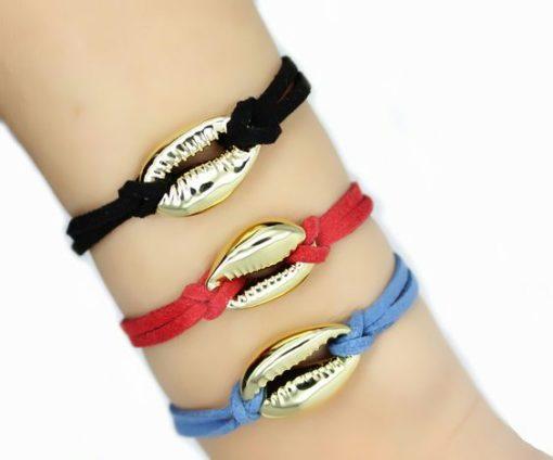 Bracelet ete 2018 coquillage cuir noir